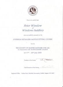 Certifikat på sadelinpassning